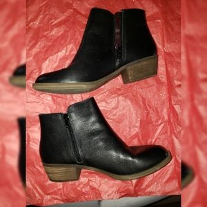 Black leather ankle boots booties winter shoes